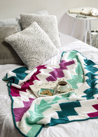 Diagonal Stripe Mitered Square Blanket