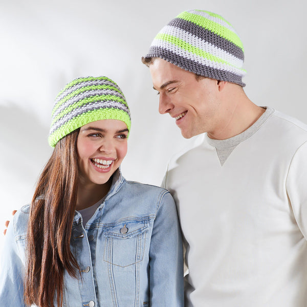 Stripy Neon Hats (Knit and Crochet Patterns)