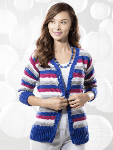 Premier® Striped Crochet Cardigan