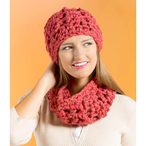 Premier® Mega Tweed Crochet Hat and Cowl