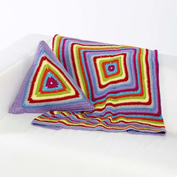 Colorful Squares Pillow and Afghan