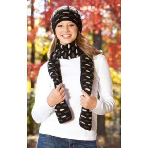 Deborah Norville Brickwork Scarf and Hat Knit Pattern Free Download