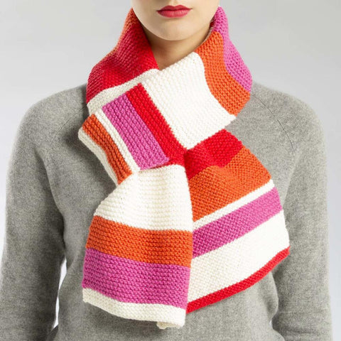 Knit Striped Scarf Free Download
