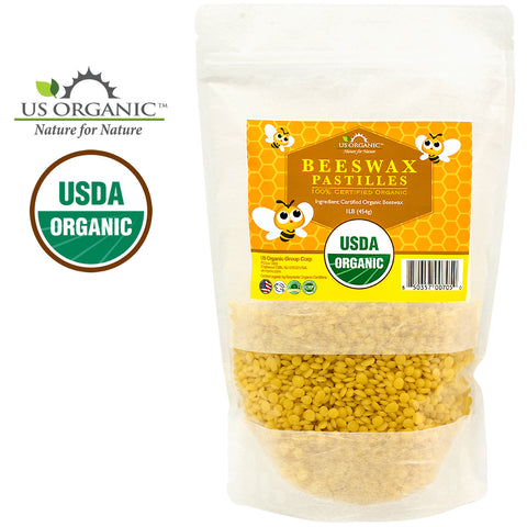 100% Pure Certified USDA Organic Beeswax Yellow Pastille 16oz
