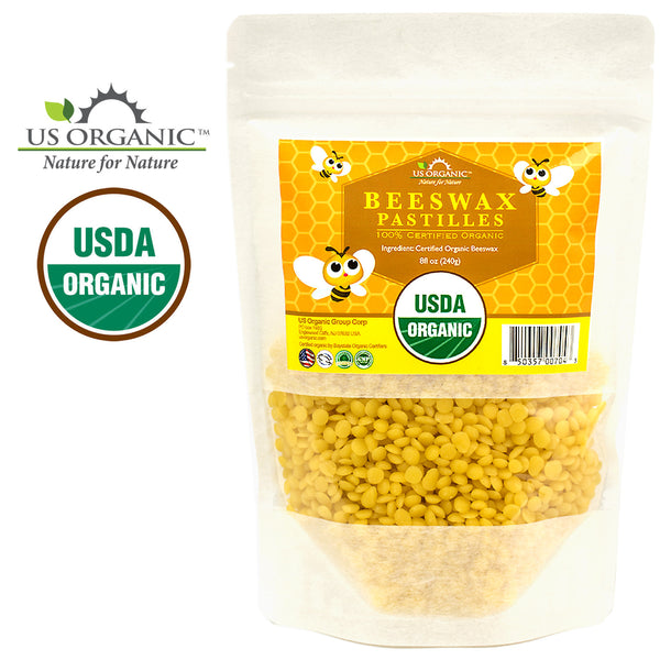 100% Pure Certified USDA Organic Beeswax Yellow Pastille  8oz