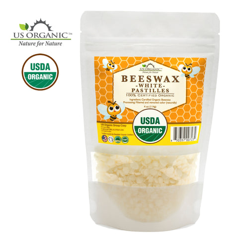 100% Pure Certified USDA Organic Beeswax White Pastille 4oz