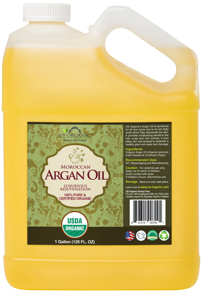 100% Pure Certified USDA Organic Morrocan Argan Oil 128 oz (1 Gallon)