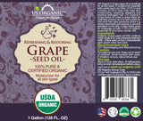 100% Pure Certified USDA Organic - Grape Seed Oil 128 oz (1 Gallon)