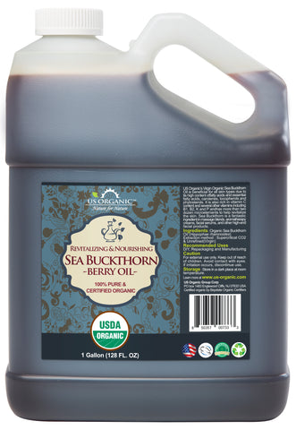 100% Pure Certified USDA Organic - Sea Buckthorn Oil 128 oz (1 Gallon)