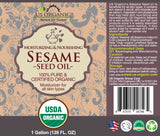 100% Pure Certified USDA Organic - Sesame Seed Oil 128 oz (1 Gallon)