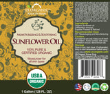 100% Pure Certified USDA Organic - Sunflower Oil 128 oz (1 Gallon)