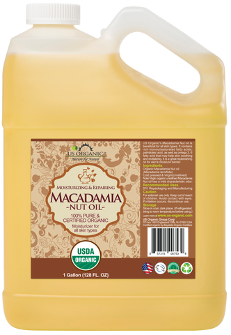 100% Pure Certified USDA Organic - Macadamia Nut Oil 128 oz (1 Gallon)