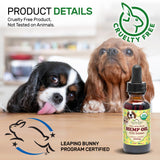 100% Pure Certified USDA Organic - Hemp Oil for Pets, 300 mg