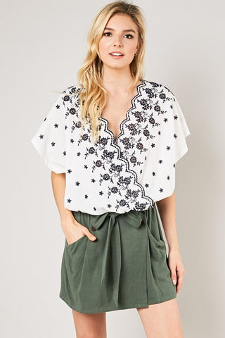 'Greek' Embroidered Blouse