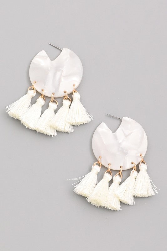 'On the Run' Tassel Earrings ( Ivory )