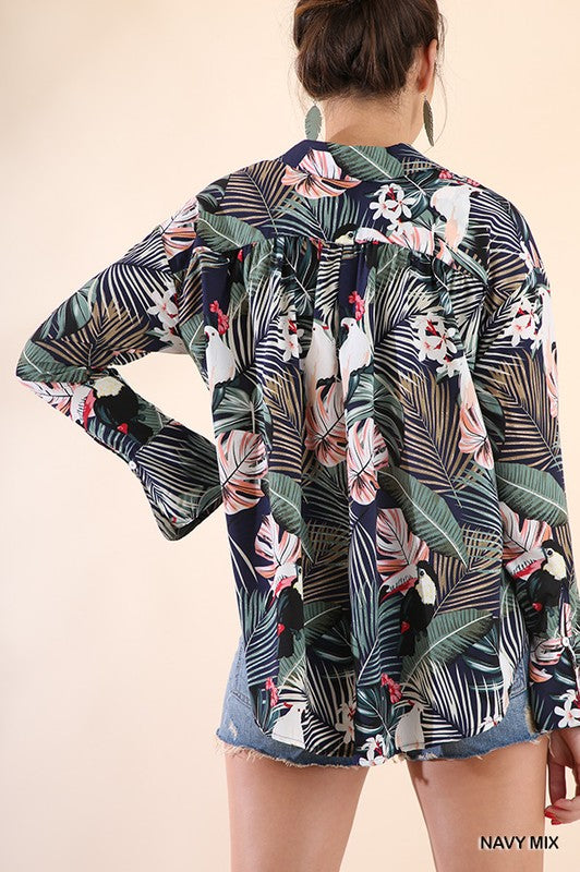 'Tropical Paradise' Button Down Top