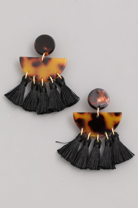 'Tortoise' Tassel Earrings