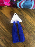 'Game Day' Tassel Earrings- Cobalt Blue