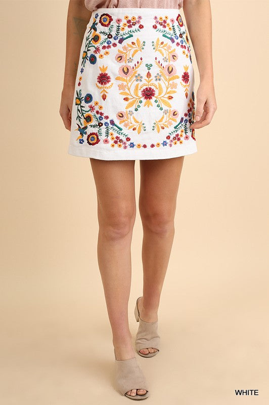 'Wild Nights' Embroidered Skirt