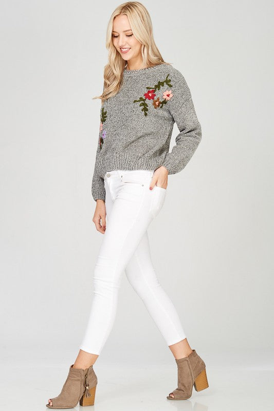 'Winter Bloom' Chenille Sweater
