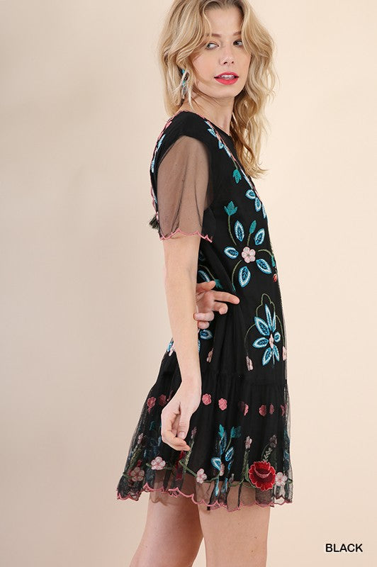 'Trésor de Fleurs' Embroidered Dress (Black)