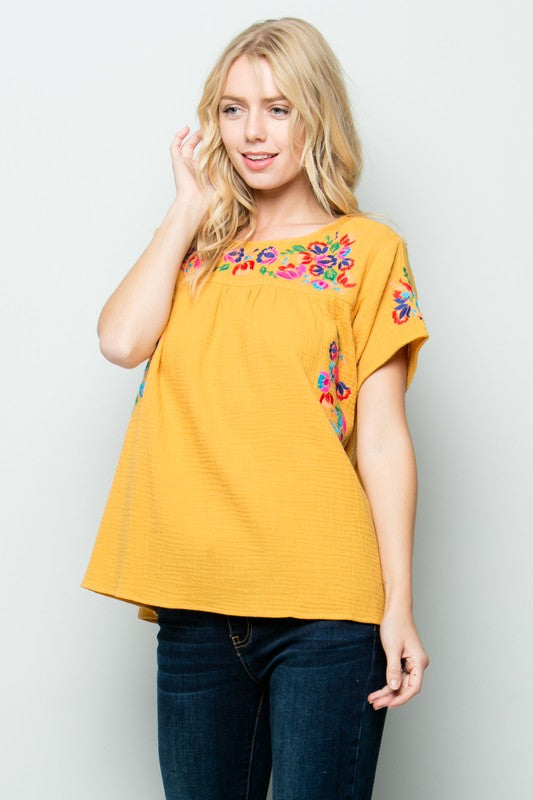 'Fiesta On My Mind' Embroidered Top