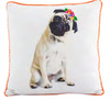 'What The Pug?' Floral Throw Pillow