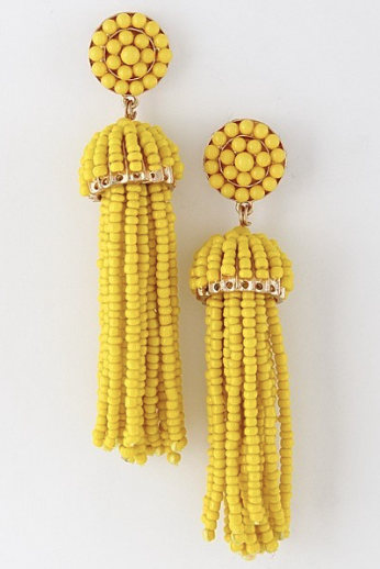 'Chandler' Beaded Tassel Earrings-Bey Yellow