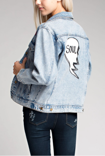 'Soul' Half Heart Denim Jacket
