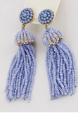 'Chandler' Beaded Tassel Earrings- Lilac
