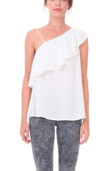 'Knox' Ruffled One Shoulder Top