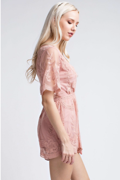 'Pretty in Lace' Romper- Rose