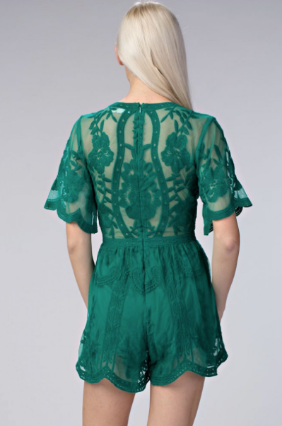 'Pretty in Lace' Romper- Emerald