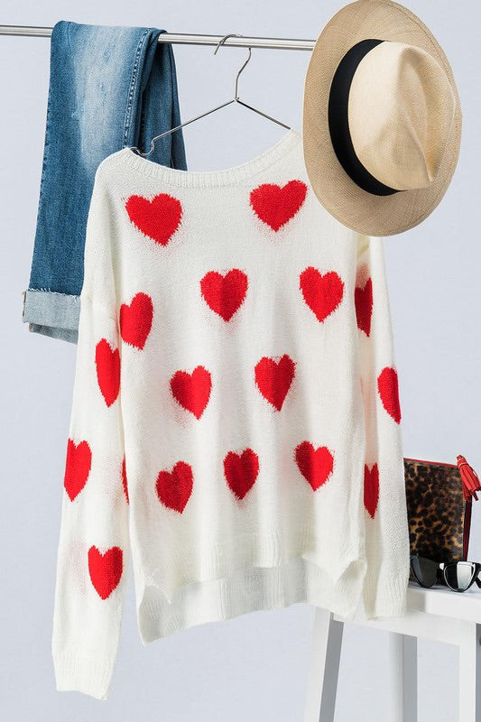 'All of Me' Heart Knit Sweater-Red