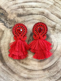 'Maite' Mini Tiered Embroidered Soutache Earrings