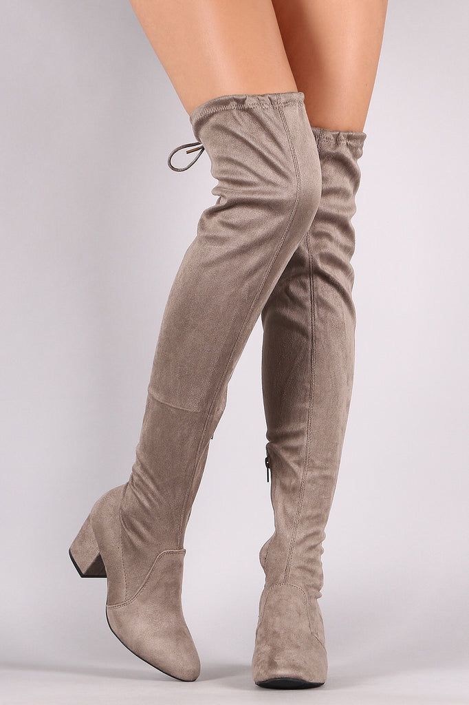 'Uptown' Over the Knee Boots-Taupe