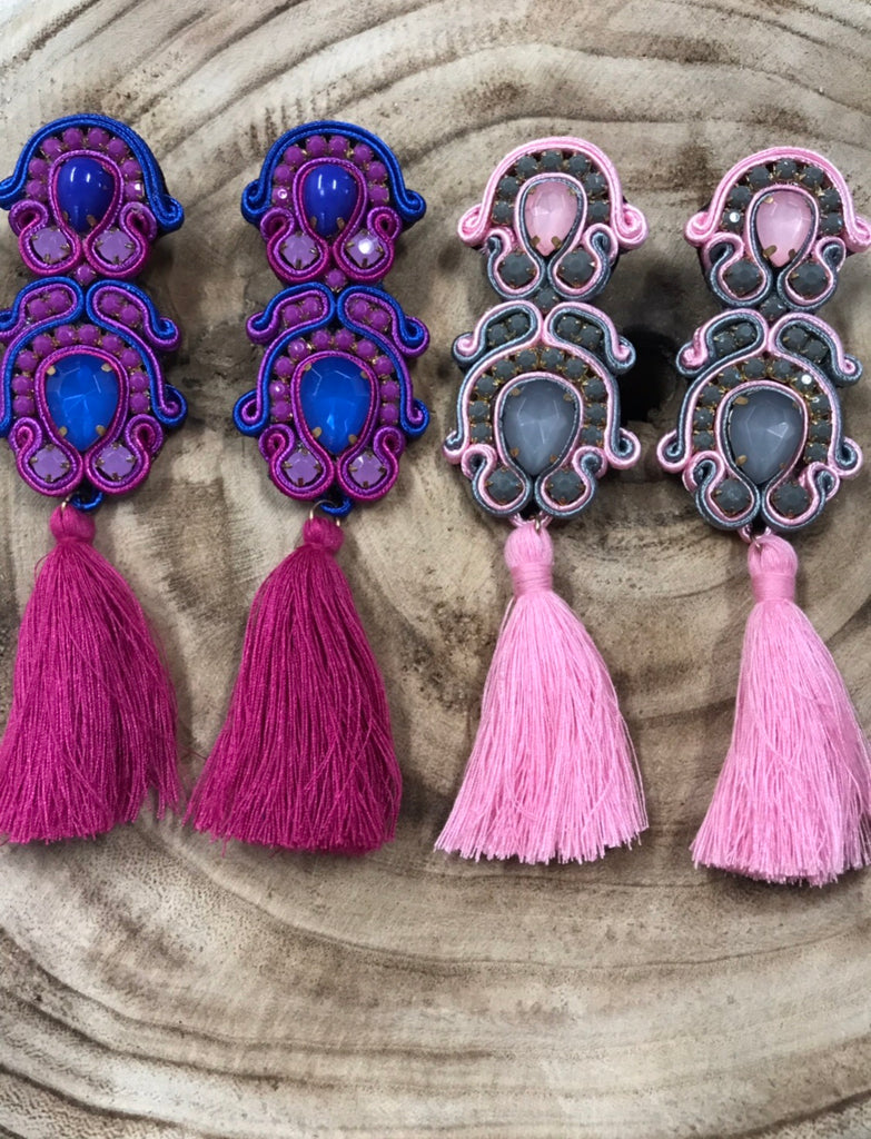 'Mila' Soutache Embroidered Earrings