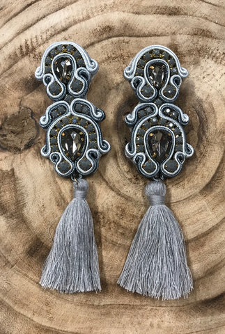 'Game Day' Tassel Earrings- Merlot