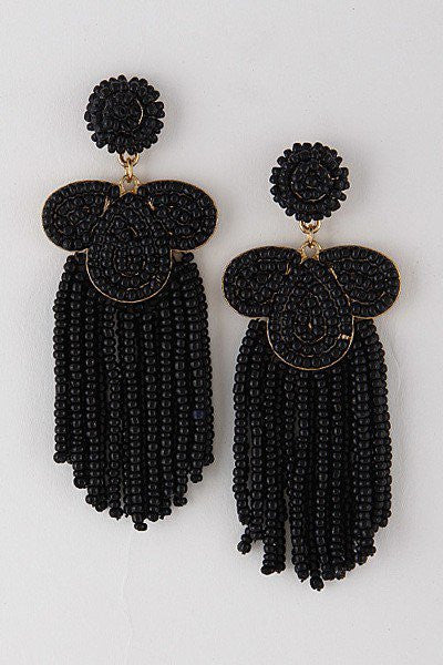 'Daphne' Tassel Earrings - Black