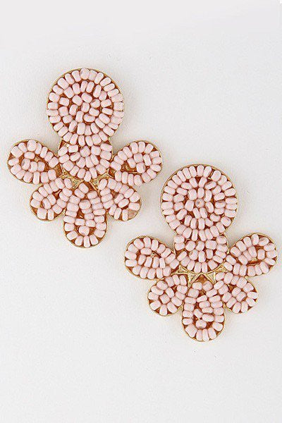 'Elle' Beaded Stud Earrings - Light Pink