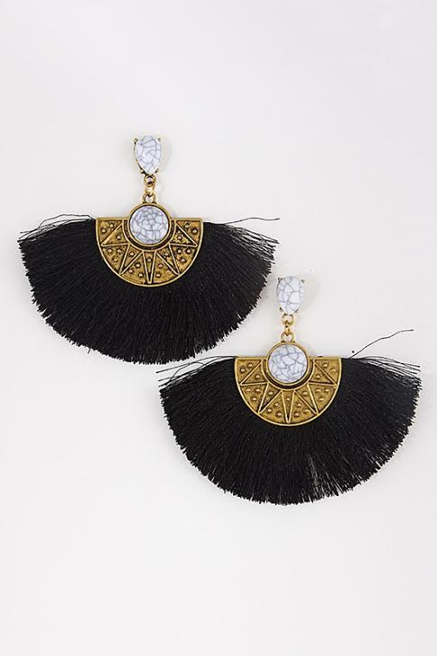 'Cleo' Fringe Earrings-Black