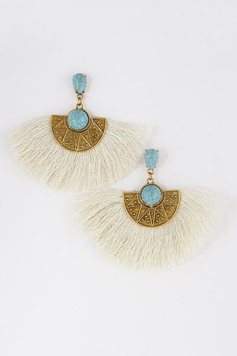 'Cleo' Fringe Earrings-Off White
