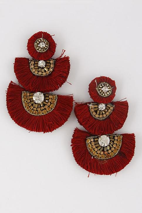 'Fringe with Benefits' Tier Earrings-Merlot