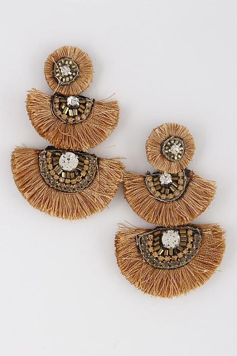 'Fringe with Benefits' Tier Earrings-Champagne