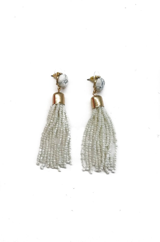 'Chandler' Marble Beaded Tassel Earrings