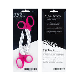"Stainless Steel Medical Scissors, 6"" EMT and Trauma Shears (2-pack Pink/Stainless)"