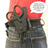 Alt belt positioning for kydex belt sheath holder for EMT shears