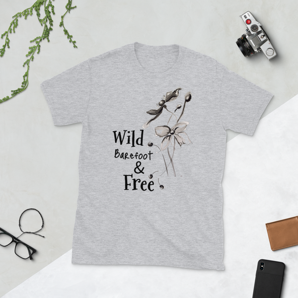 "T shirt ""Wild Barefoot & Free"" Womens Short Sleeve Inspiring T-Shirt Artwork by Kathy Morawiec"