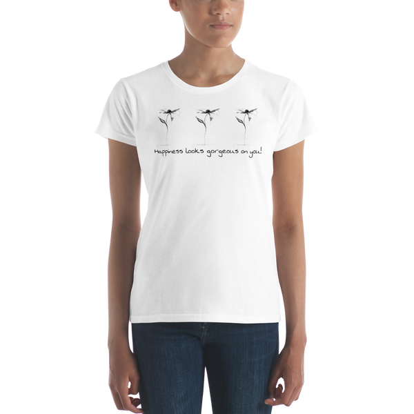 "Women's short sleeve t-shirt ""Happiness Looks Gorgeous on You"" Artwork designed by Kathy Morawiec"