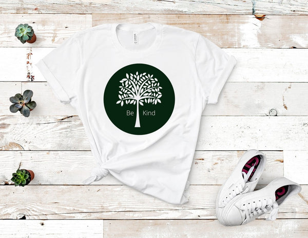 "T shirt by JETT IMPRESSIONS ""Be Kind"" Tree Graphic T shirts for Women"